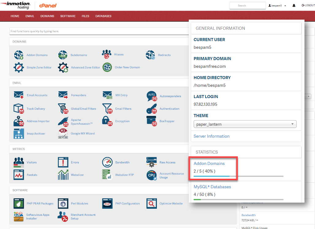 Expand stats snapshot cPanel
